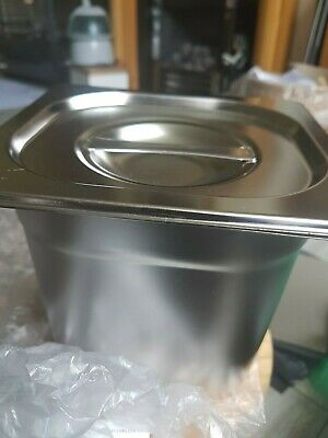 £6 • Buy Vogue Heavy Duty Stainless Steel 1/6 Gastronorm Pan With Lid. Bain Marie New