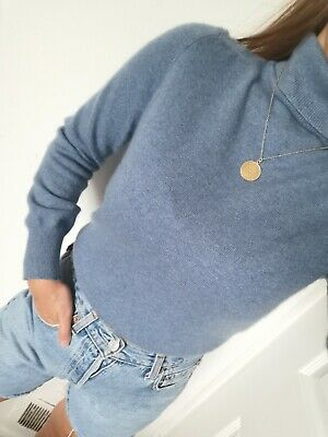 £19.90 • Buy M&S 100% Pure Cashmere Jumper Sweater Knit Rollneck Blue Size S 8