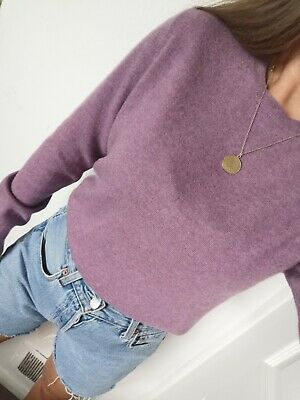 £19.90 • Buy M&S 100% Pure Cashmere Sweater Jumper Knit Size L 12 M 10 8 S Lilac