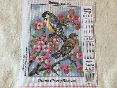 """£3 • Buy Tapestry Canvas 'Blue Tits On Cherry Blossom' 7"""" X 9.5"""""""