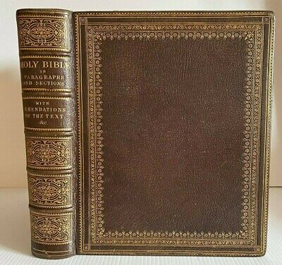 £13.50 • Buy C. 1850 LARGE HOLY BIBLE / HANDSOME FULL GILT LEATHER BINDING / NO RESERVE !!!