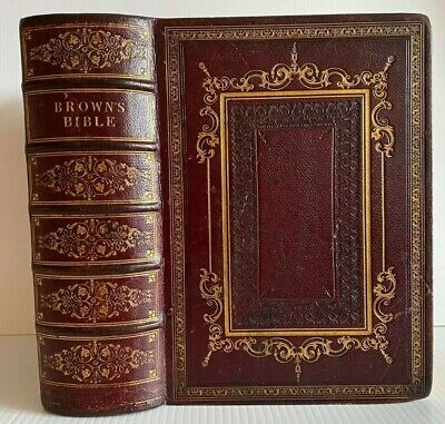 £41 • Buy 1849 Large Holy Bible / Fine Red Gilt Leather Binding / No Reserve !!!