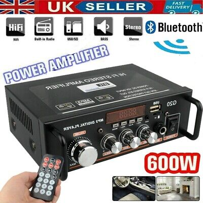 £23.15 • Buy 600W Digital Amplifier HIF Bluetooth Stereo Audio AMP USB SD FM Mic For Car&Home