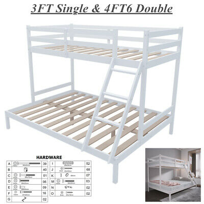 £107 • Buy Safety Triple Bunk Bed Single Double Bed Frame Wood High Sleeper Children Kids