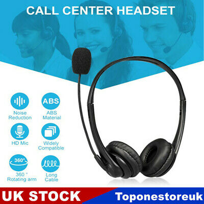 £12.89 • Buy USB Headset Computer Headphones With Mic For Call Center PC Laptop Skype Phone