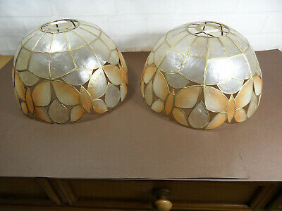 £12.99 • Buy A Pair Of Vintage Butterfly Style Capiz Shell Ceiling Shades