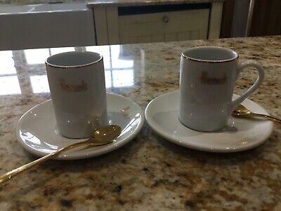 £15 • Buy Harrods 2 Espresso Coffee Cups & Matching Saucers & Gold Spoon Set Used