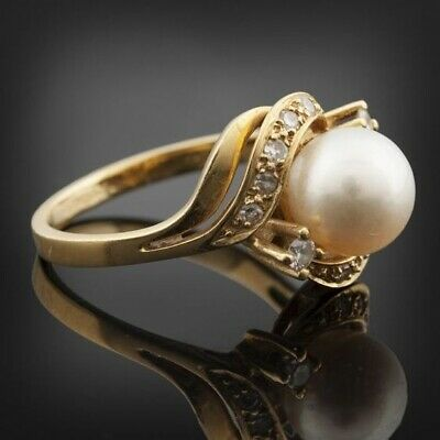 £0.43 • Buy Gorgeous Wedding Rings For Women 18K Yellow Gold Plated Jewelry Pearl Size 8