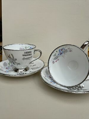 £4.20 • Buy GLADSTONE - Bone China Silver Wedding Anniversary Pair Of Tea Cups And Saucers