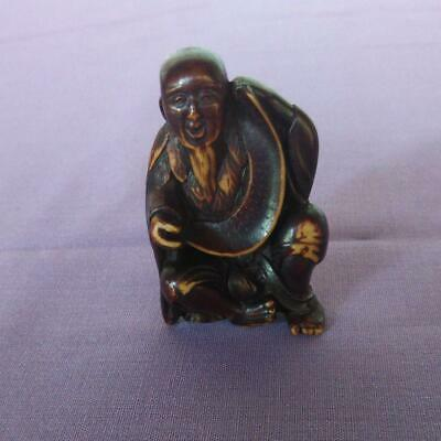 £221.36 • Buy Netsuke Japanese Antique Smiley Old Man Deer Horn Carving Okimono Collection