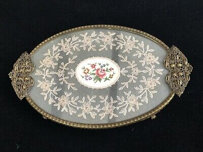 £31 • Buy Vintage Dressing Table Tray Petit Point Lace Inlay With Brass Filigree.