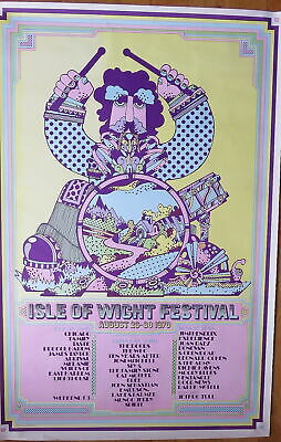 £400 • Buy Iconic Original 1970 'Psychedelic Drummer' ISLE OF WIGHT FESTIVAL Poster