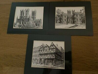 £12 • Buy 3 Mini Mounted Pictures Of Lincoln Castle Gate Cathedral Tudor House John Bangay