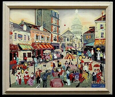 £90 • Buy 20th Century French Oil On Canvas Paris Montmartre Street Vintage Painting