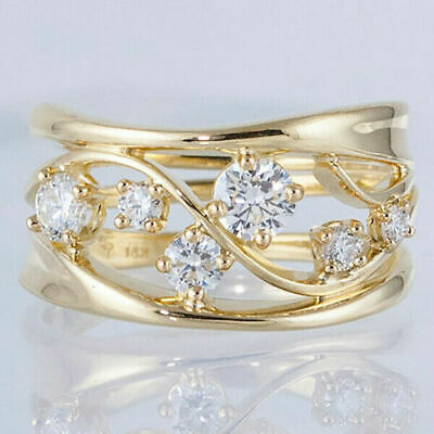 £0.71 • Buy Fashion 18k Gold Plated Rings For Women White Sapphire Wedding Jewelry Size 7