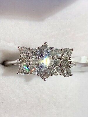 £399.99 • Buy Diamond Cluster Boat Ring, 1 Carat, 9ct White Gold, Size N, Certificate, New/Tag
