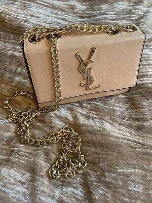 AU191.85 • Buy YSL Pale Pink Clutch Bag With Chain Handles For Shoulder Crossbody Wear