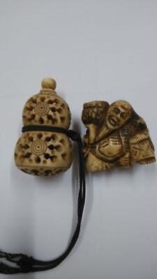 £143.66 • Buy Netsuke Japanese Antique Gourd And Old Man Deer Horn Carving Okimono Collection