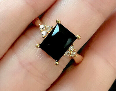 £6.99 • Buy Vintage Style Jewellery Black Gemstone And White Gems Ring 18K Gold Plated