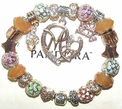 AU177.76 • Buy Authentic PANDORA Bracelet Silver With ROSE GOLD, MOM, FAMILY European Charms