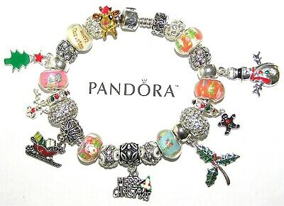 AU177.76 • Buy Authentic Pandora Bracelet Silver With European Charms, MERRY CHRISTMAS, HOLIDAY