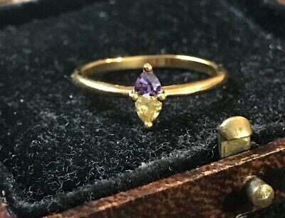£6.99 • Buy Vintage Style Jewelry Multicolor Gemstone Ring 18K Gold Plated