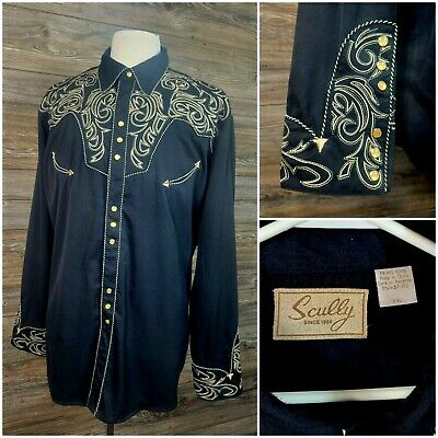 £36.27 • Buy Scully Mens XXL L/S Pearl Snap Embroidered Western Cowboy Shirt Black/Gold VGC!