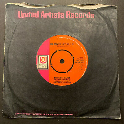 £20 • Buy Francoise Hardy All Because Of You UK UP35070 1969 7  45 Single Record Excellent