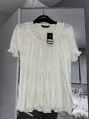 £2.10 • Buy Womens Brand New & Tags Forever By Michael Gold Short Sleeve Cream Tshirt Size M