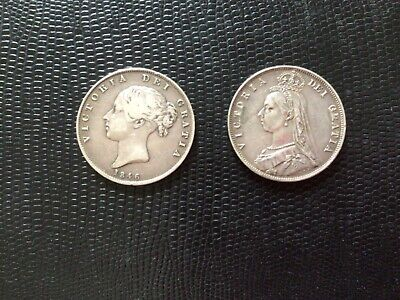 £46 • Buy 1846 & 1887 PAIR Of Half Crown, Scarce Dates Young & Old Heads Excellent