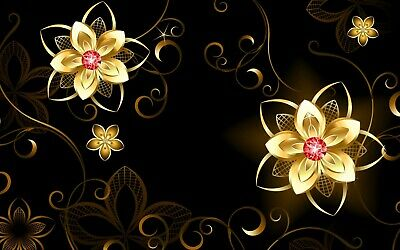 £11.99 • Buy Abstract Gold Flowers Modern Black Wall Art Photo Poster / Canvas Picture Prints