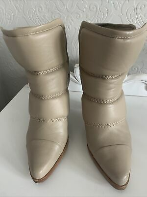 £90 • Buy CHLOE Leather Ankle Boots - Beige Size 37/ UK 4.5