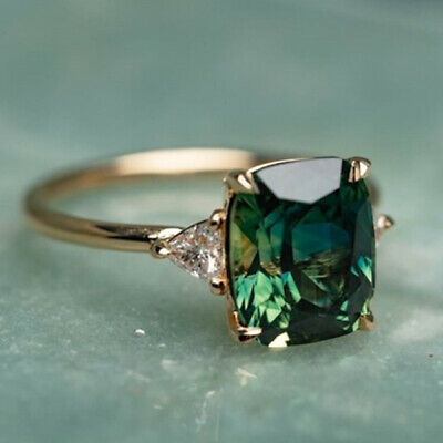 £0.34 • Buy Women Gorgeous 18K Yellow Gold Plated Jewelry Emerald Wedding Ring Size 6