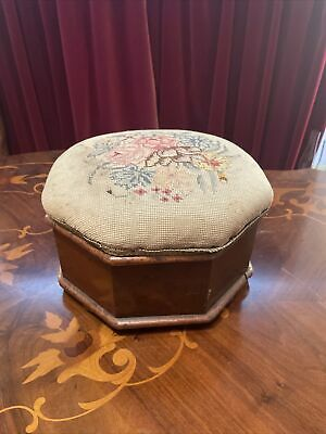 £40 • Buy Stunning Antique Sewing Box Sewing Stool Embroidered