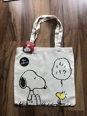 £4.20 • Buy Brand New Peanuts Snoopy Reusable Canvas Tote Shopper Bag Gym Books Sustainable