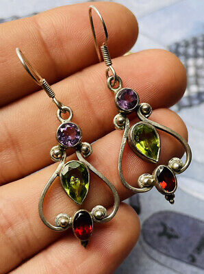 £8.99 • Buy Silver Earrings With Peridot,amethyst And Garnet Nearly New