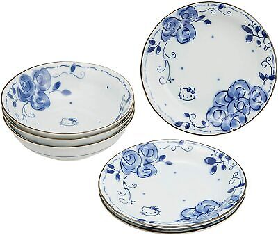 £46.46 • Buy RARE Hello Kitty Japanese Porcelain Plate Bowl SET Blue Rose Exclusive To JAPAN