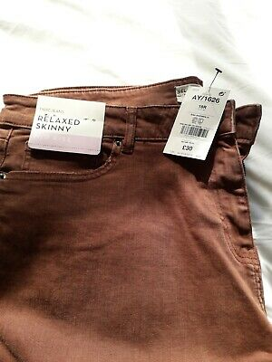 £9.99 • Buy Next Brown Relaxed Skinny Mid Rise Jeans 18R  NWT