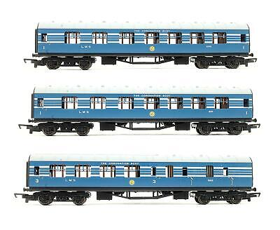 £89.50 • Buy Hornby 'oo' Gauge R4906 Set Of 3 Lms Blue Coronation Scot Coaches