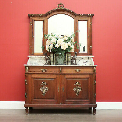 AU1695 • Buy Antique French Oak Dressing Table, Mirror Back Hall Cabinet Cupboard, Marble Top