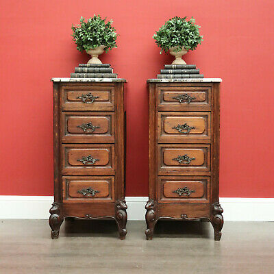 AU2250 • Buy Pair Of Antique French Bedside Tables, 4 Drawer Cabinets, Lamp Tables Marble Oak