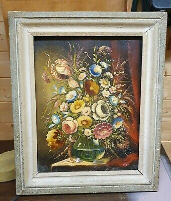 £8.05 • Buy Norman Henry French 'rima' (1906-1984) Original Oil Painting Flowers In Vase