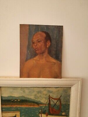 £0.99 • Buy Vintage Double Male Portraits Mid 20th Century Original Oil Paintings On Board