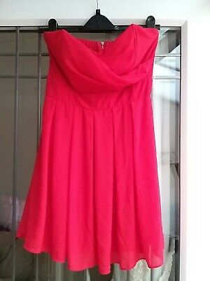 £3 • Buy Tfnc Dress 10 Strapless Fit And Flare Floaty Red Chiffon Mini