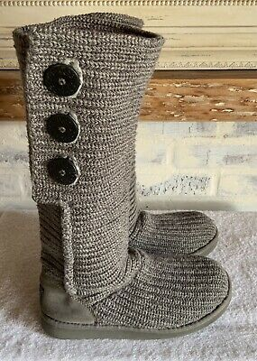 £29.31 • Buy UGG Australia Gray Classic Cardy Knit Tall Sweater Boots 5819 Size 8 In GUC