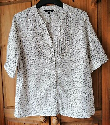£5.99 • Buy Boho Blouse Top Cotton Ditsy Floral White Sage Green Unusual Size 16 Pleats