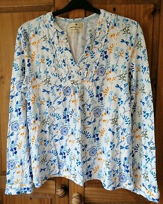 £5.49 • Buy Boho Blouse Top Cotton White Turquoise Wildflower Pleat Size 14 42in