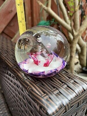 £6.50 • Buy Vintage   Selkirk Glass Paperweight Pink, Purple And White
