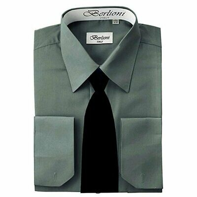 £18.28 • Buy Berlioni Italy French Convertible Cuff Solid Mens Dress Shirt With Black Tie
