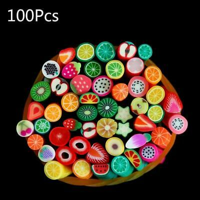 AU12.14 • Buy 100pcs Artificial Fruit Slices Sticks Rod For Slime Supplies Nails Art Tips Clay